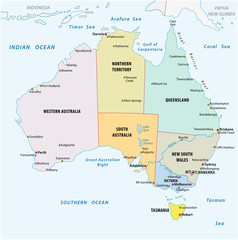 simple vector outline administrative and political vector map of australia.