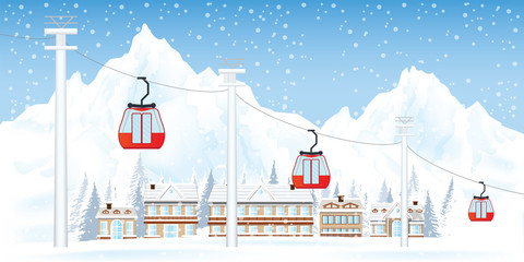 Ski resort with cable cars or aerial lift .