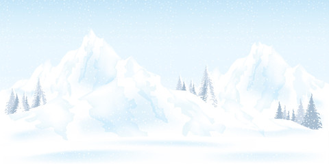 Watercolor illustration of winter mountains landscape with pines and hills.