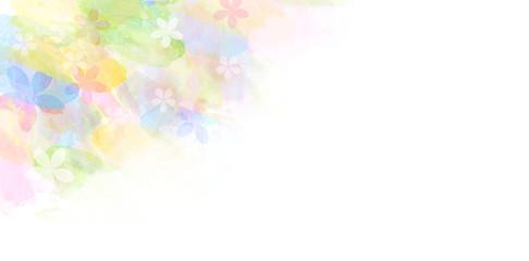 春の抽象的イメージ(水彩タッチ)とボケ