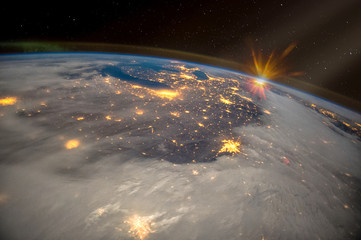 Great Lakes of North America at night, satellite view, The elements of this image furnished by NASA.
