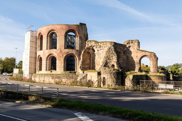 Trier, Germany. The Imperial Baths (Kaiserthermen), a large Roman bath complex from the ancient city of Augusta Treverorum. A World Heritage Site since 1986