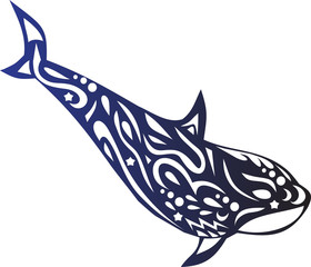 Killer whale with a pattern, a dolphin tattoo, an ornament on the body of an animal, a Koshalot sticker, a sea creature, a vector fish, ocean fauna
