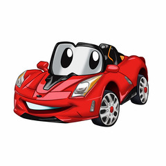 Fast car cartoon - red car cartoon - cars for kids Vector Illustration