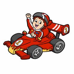 Formula 1 - car cartoon - car racing - Vector Illustration