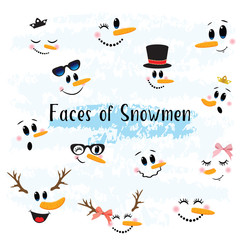 Vector Collection of Hand drawn Cute Snowman Faces