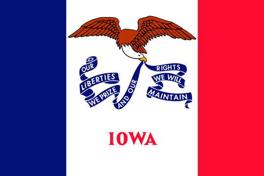 Iowa flag. Vector illustration. United States of America.