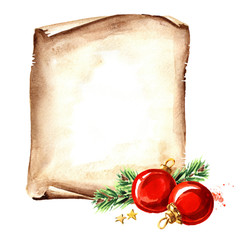 Scroll of old paper with Christmas red balls. New year card template. Watercolor hand drawn illustration,  isolated on white background