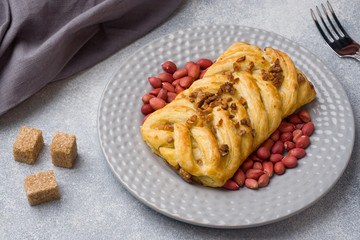 Puff pastry with peanuts and caramel filling for Breakfast.