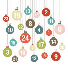 Retro Advent Calendar Christmas Balls White