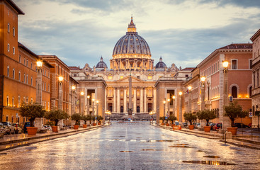 Stores photo Rome St. Peter's Basilica in the evening from Via della Conciliazione in Rome. Vatican City Rome Italy. Rome architecture and landmark. St. Peter's cathedral in Rome. Italian Renaissance church.