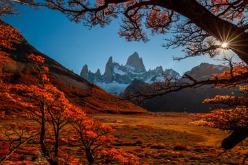 Beautiful autumn view Fitz Roy mountain. Patagonia, Argentina