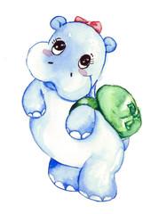 Cute hippo Watercolor