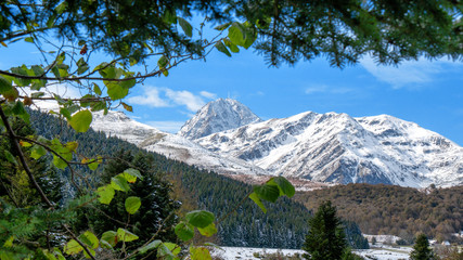 Pic du Midi de Bigorre in the french Pyrenees with snow