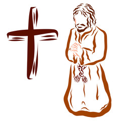 Believer prays to God on his knees, cross, clothes of old time