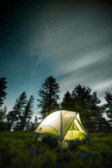 Glowing Tent Under the Stars