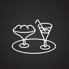 Summer cocktails thin line on black background icon
