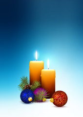 2nd Advent - Christmas Greeting Card with Two Candles and Free Space for Own Text and Wishes.