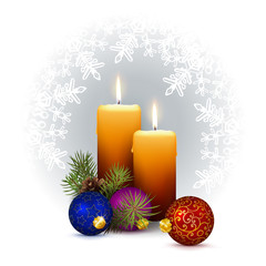 Two Candlelights with Decorativ XMAS Design Elements on White Background with Snowflakes.