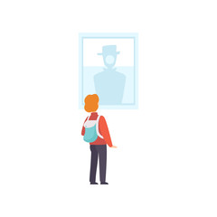 Boy with backpack looking at the painting hanging on the wall, exhibition visitor viewing museum exhibit at excursion, back view vector Illustration on a white background