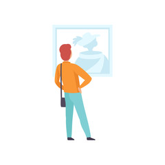 Man looking at the picture hanging on the wall, male exhibition visitor viewing museum exhibit at art gallery, back view vector Illustration on a white background