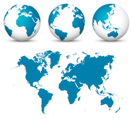 Blue 3D Earth / Globe Set. World Vector Collection with Flat Undistorted 2D Earth Map in Blue Color.