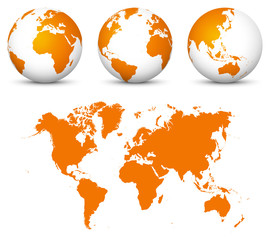 Orange 3D World - Flat Vector Globe Icon Set with Undistorted 2D World Map in Orange Color.