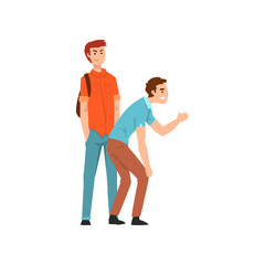 Two young men scoffing at someone, conflict between children, mockery and bullying at school vector Illustration on a white background