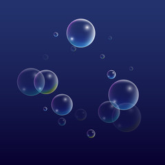ubble with Hologram Reflection. Set of Realistic Water or Soap Bubbles for Your Design.