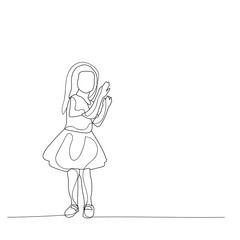 isolated, sketch, lines of a girl in a dress