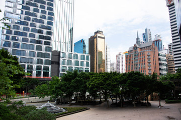 Papiers peints Chicago View landscape and cityscape with high building at Wan Chai city in Hong Kong, China