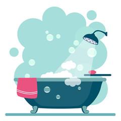 Obraz Bathroom cover Modern trendy design. Vector - fototapety do salonu