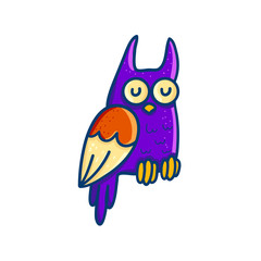 Colorful cartoon owl on white background
