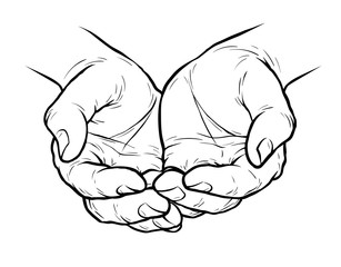 Cupped hands, folded arms sketch. Vintage vector illustration