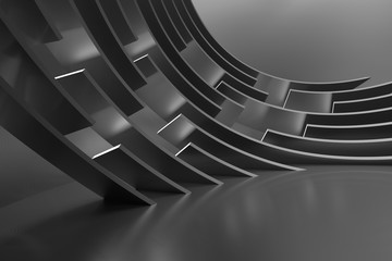 Fotobehang - Modern Building Design. Abstract Curved Shapes