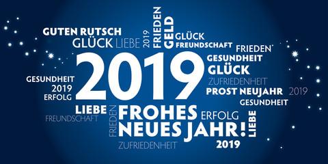 2019 Neujahrsgruss blau mit guten wünschen für das neue Jahr