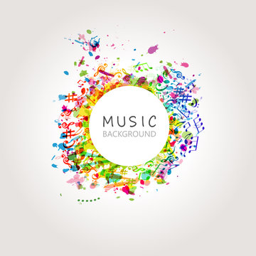 Colorful music background with music notes vector illustration design. Artistic music festival poster, live concert, party flyer, music notes signs and symbols web banner
