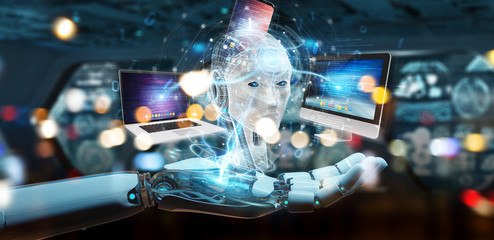 Robot controlling modern devices interface system 3D rendering