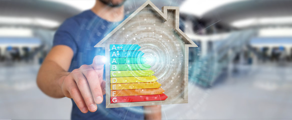 Businessman using 3D rendering energy rating chart in a wooden house