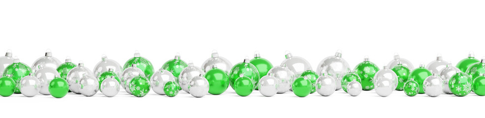 Green and silver christmas baubles isolated 3D rendering