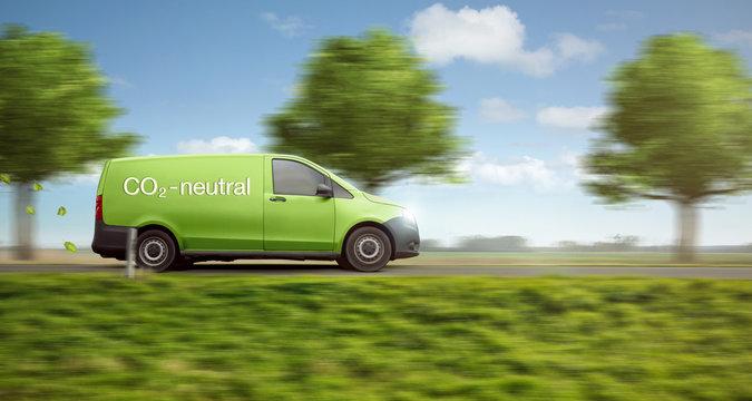 Co2 neutrale Lieferung mit grünem Transporter