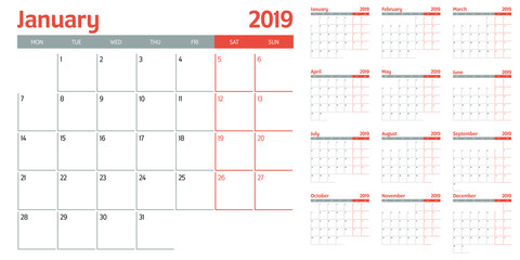 Calendar planner 2019 template vector illustration all 12 months week starts on Monday and indicate weekends on Saturday and Sunday