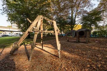 Zurich Playground with wooden Girafe and elephants structures