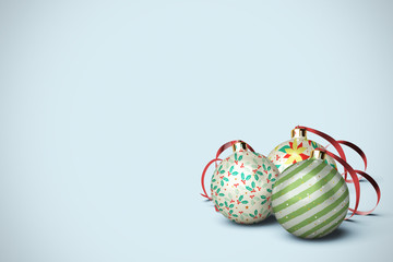 Three Christmas Ball Ornaments with Copy Space