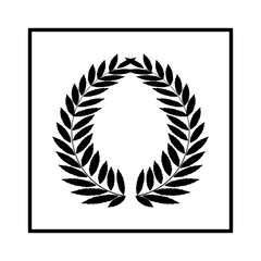 Laurel wreath black in square. Modern symbol of victory and award achievement champion. Leaf ceremony awarding of winner tournament. Monochrome template for badge. Design element. Vector illustration.