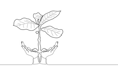 The continuous line drawing of hands holding young tree. concept of support growth of business in the future or business development symbolic or  Support growth of new life or eco symbolic.