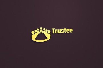 Text Trustee with yellow 3D illustration and brown background