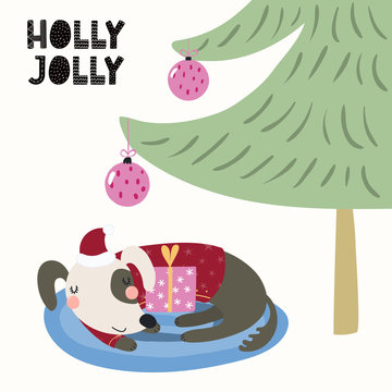 Hand drawn vector illustration of a cute dog in a Santa hat sleeping under the Christmas tree, with gift, text Holly Jolly. Isolated objects on white. Scandinavian style flat design. Concept for card.