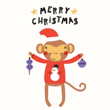 Hand drawn vector illustration of a cute funny monkey in a Santa Claus hat, sweater, with ornaments, text Merry Christmas. Isolated objects on white. Scandinavian style flat design. Concept for card.