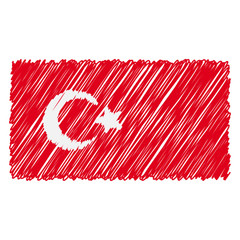 Hand Drawn National Flag Of Turkey Isolated On A White Background. Vector Sketch Style Illustration. Unique Pattern Design For Brochures, Printed Materials, Logos, Independence Day